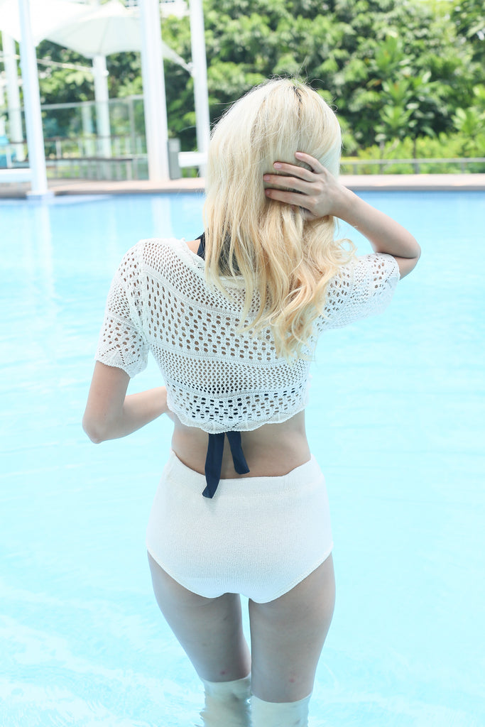COSTA BEACH KNIT SET (OFF WHITE) - TOPAZETTE