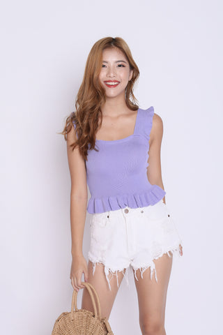 WILLABELLE RUFFLES KNIT TOP IN LILAC