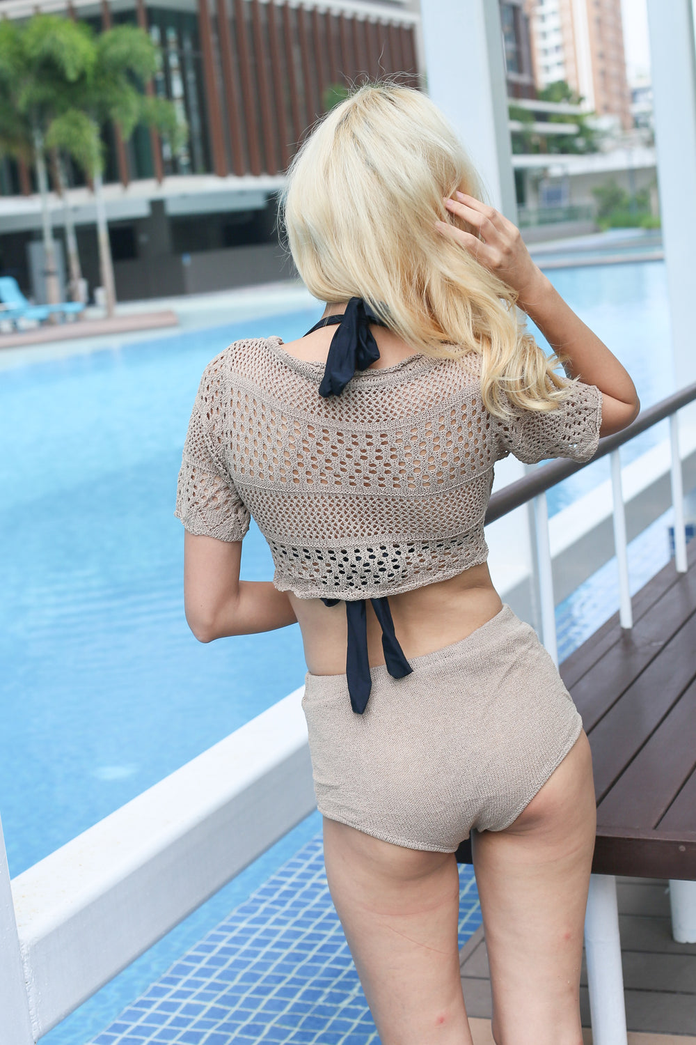 COSTA BEACH KNIT SET (TAUPE)