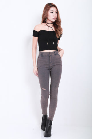 STAY CLOSE SLIT JEGGINGS IN GREY
