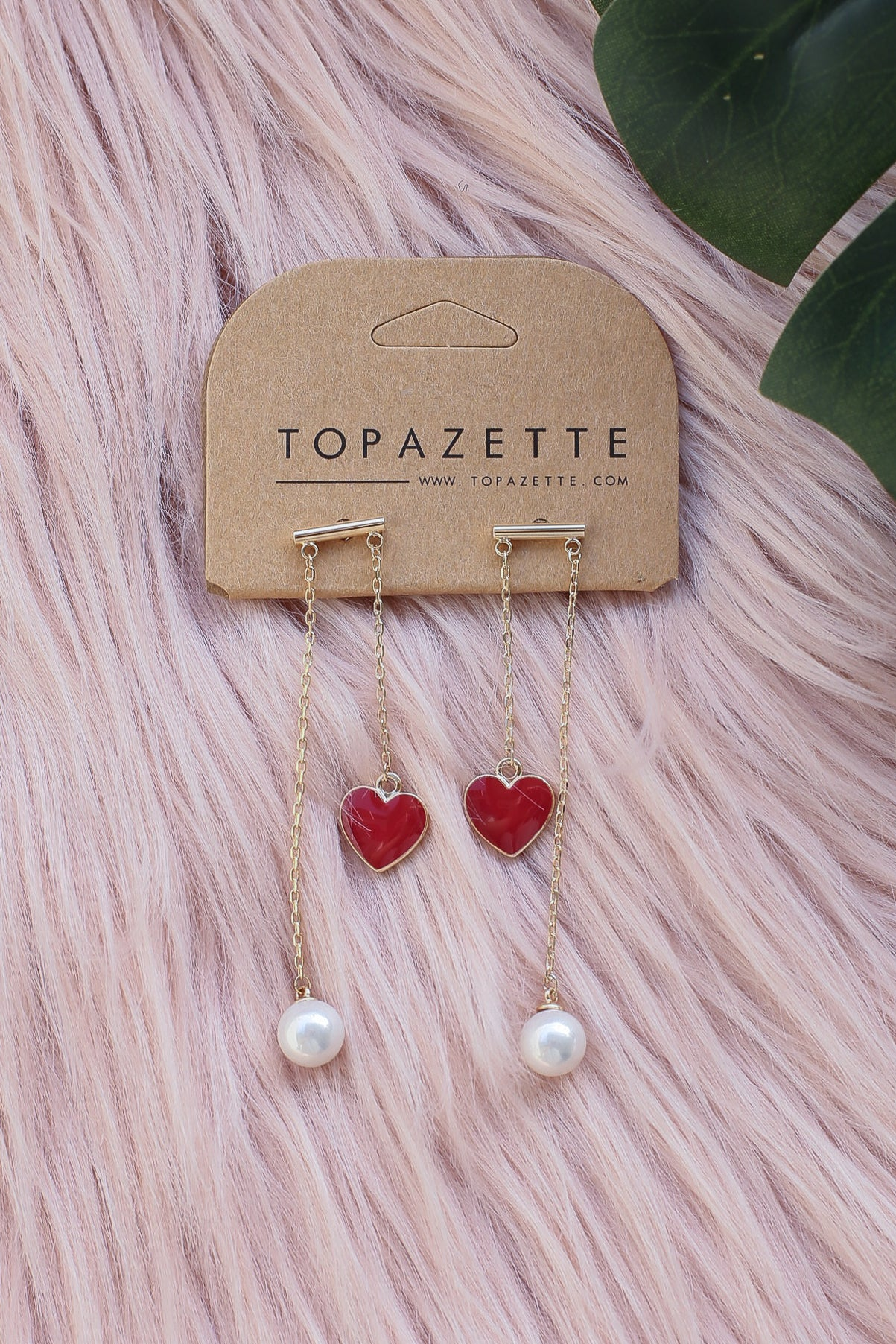 *RESTOCKED* HEARTS AND PEARLS EARRINGS (RED)
