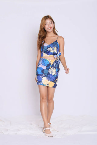 FLORAL BODYCON SKIRT (SUMMERY NAVY)