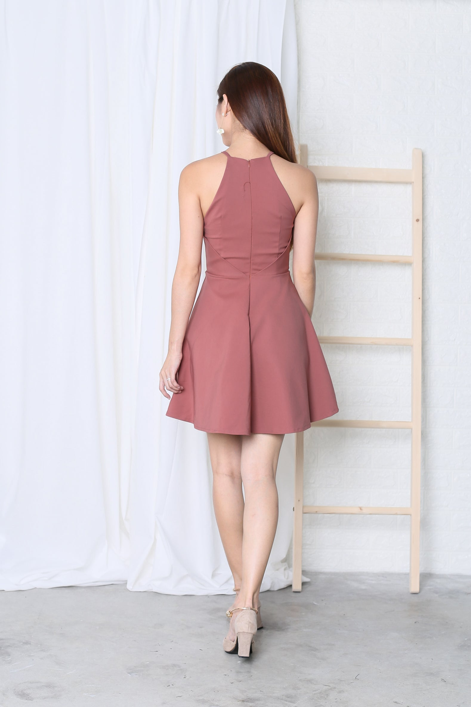 *TPZ* (PREMIUM) KAYLA SKATER DRESS IN DUSTY CORAL