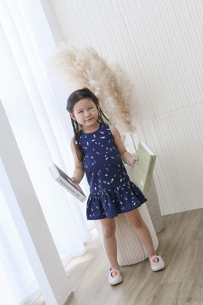 *LITTLE TOPAZETTE* PARTY CONFETTI KIDS DRESS IN NAVY