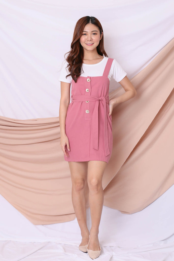 ERYN DUNGAREE DRESS IN PINK