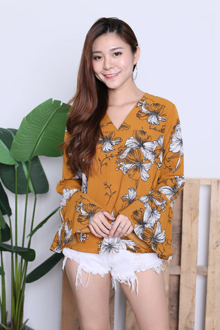 ZOFIA FLORAL BELL SLEEVES TOP IN MUSTARD