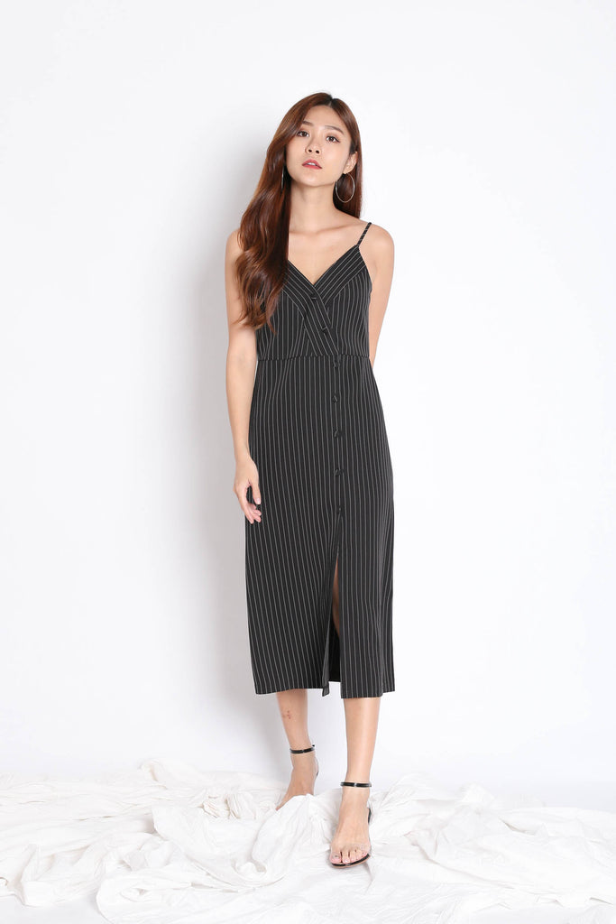 REIGN STRIPES BUTTON DRESS IN BLACK - TOPAZETTE
