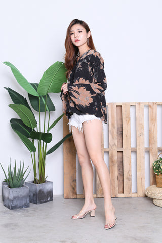 ZOFIA FLORAL BELL SLEEVES TOP IN BLACK