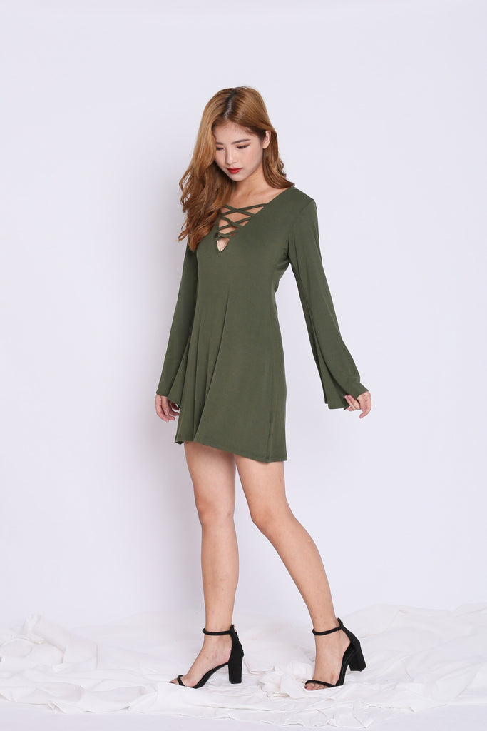 BREE LACED BELL SLEEVES DRESS IN ARMY GREEN - TOPAZETTE