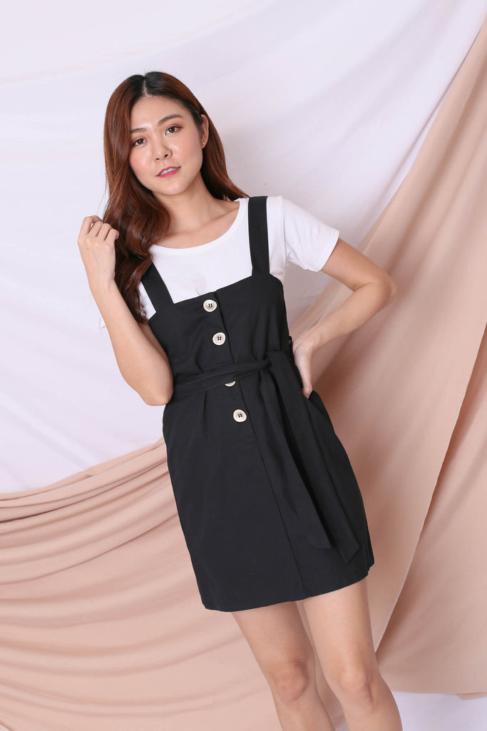 ERYN DUNGAREE DRESS IN BLACK