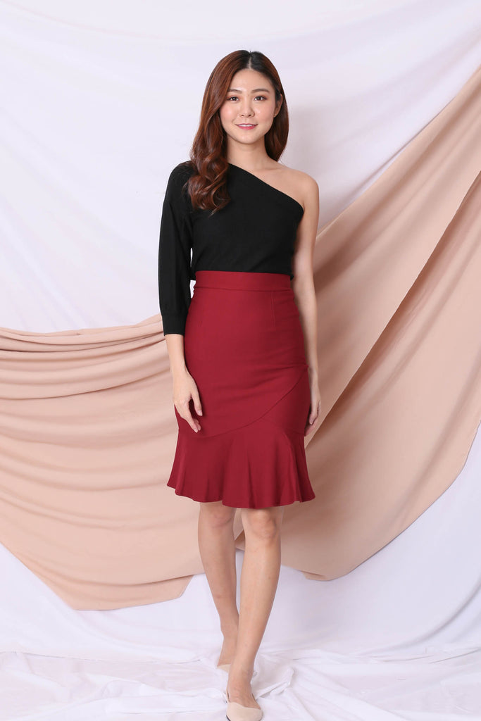 CLASSIC MERMAID BODYCON SKIRT IN WINE
