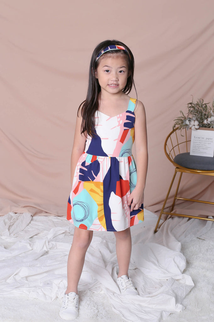 *LITTLE TOPAZETTE* COLOUR PLAY ABSTRACT 2 WAY SKATER DRESS - TOPAZETTE