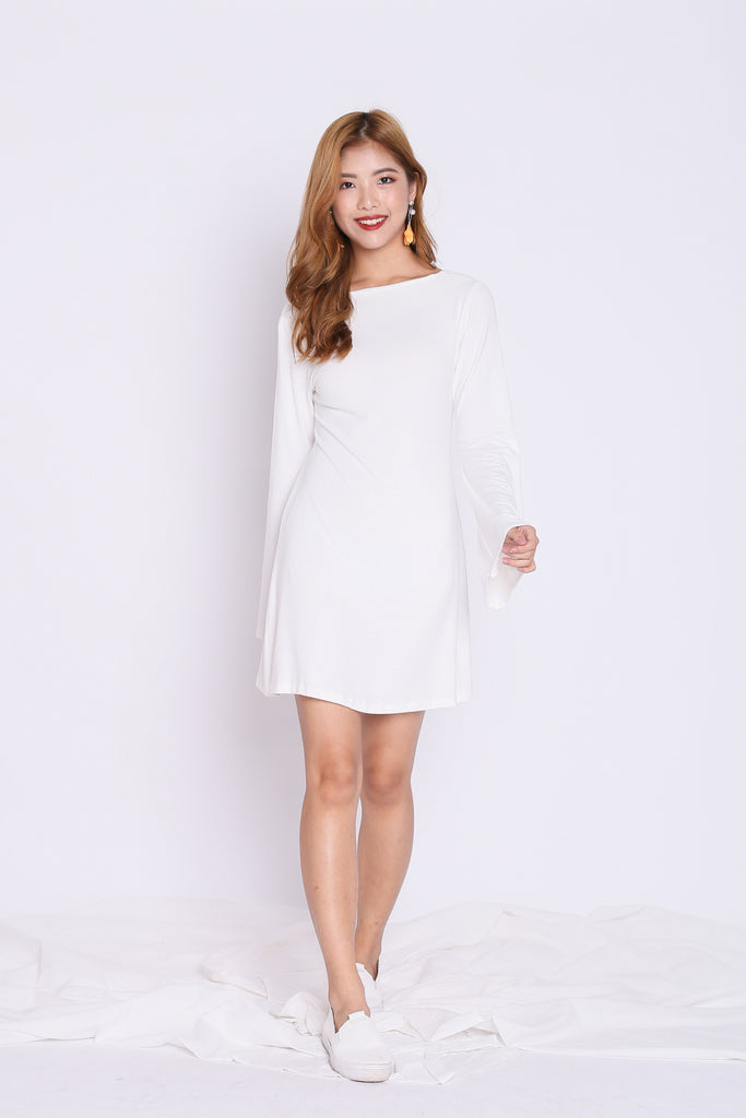 BREE LACED BELL SLEEVES DRESS IN WHITE - TOPAZETTE