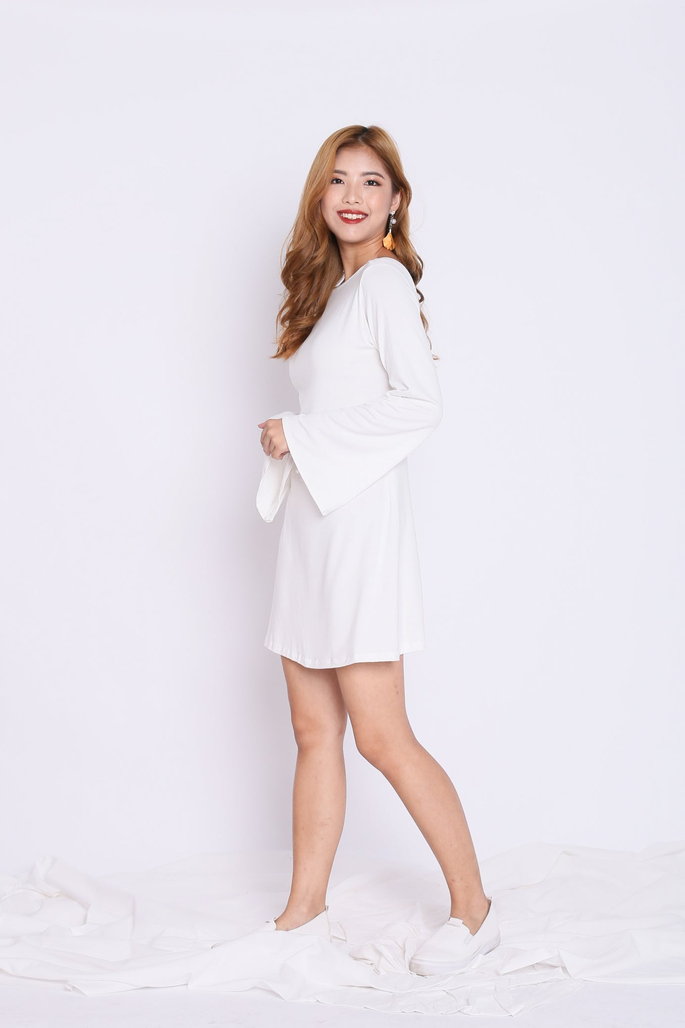 *BACKORDER* BREE LACED BELL SLEEVES DRESS IN WHITE