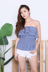 IVANA SMOCKED TUBE TOP IN CORNFLOWER BLUE