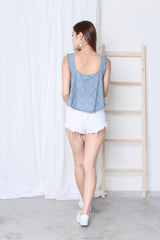 JO EYELET TOP IN PASTEL BLUE