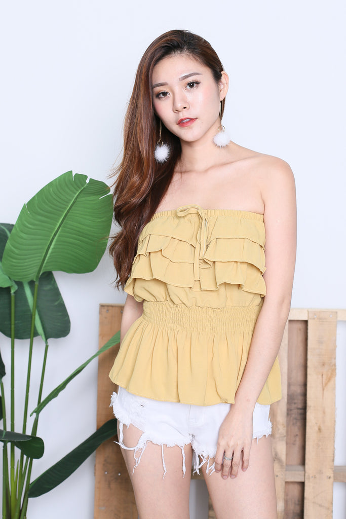 IVANA SMOCKED TUBE TOP IN MUSTARD - TOPAZETTE