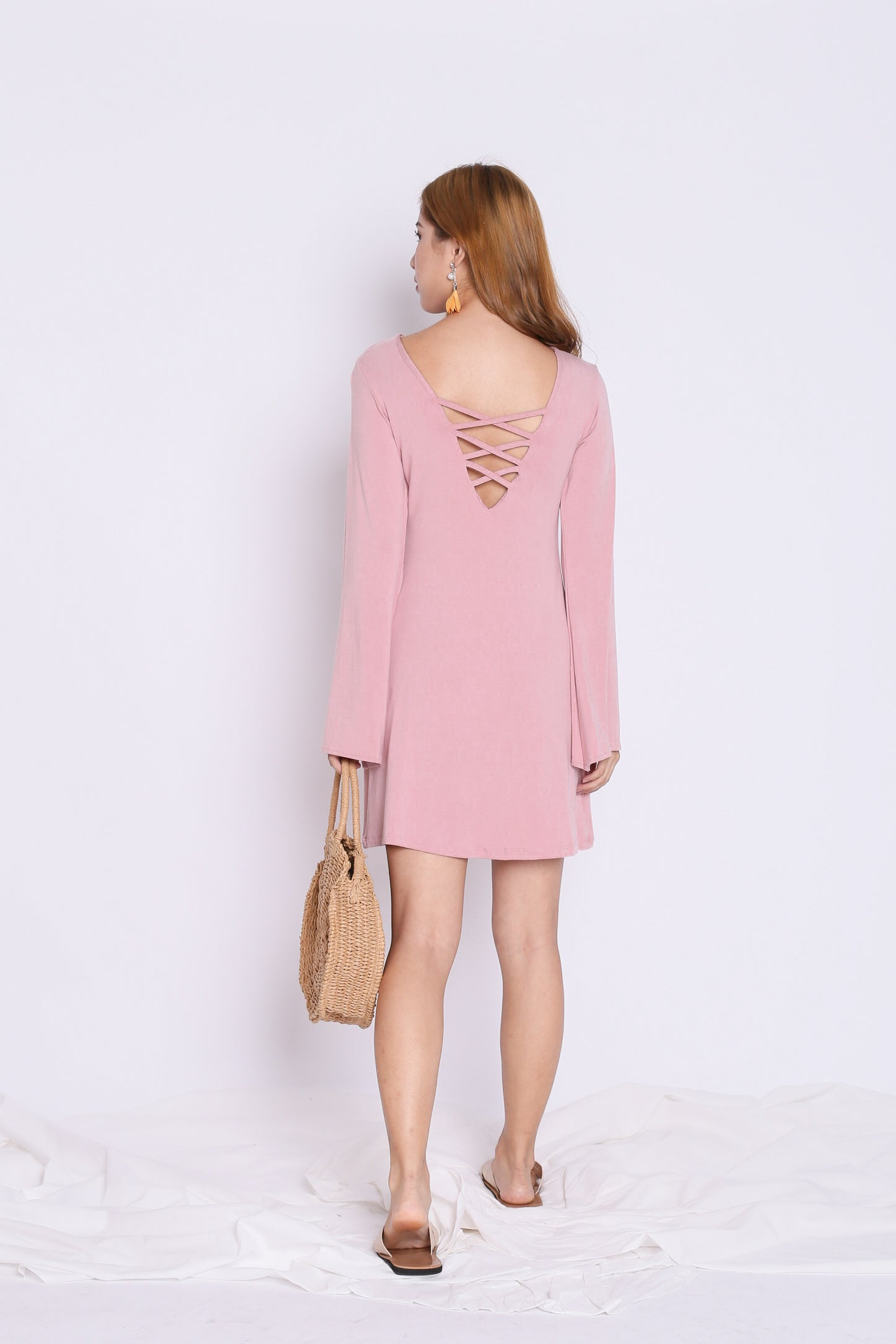 BREE LACED BELL SLEEVES DRESS IN PINK