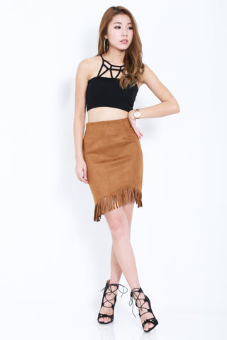 SUEDE FRINGE SKIRT IN DARK KHAKI