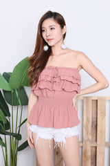 IVANA SMOCKED TUBE TOP IN DUSTY PINK