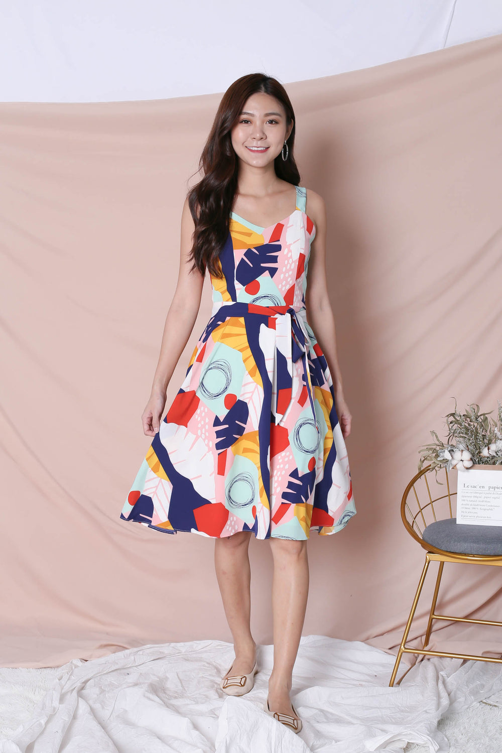(PREMIUM) COLOUR PLAY ABSTRACT 2 WAY SKATER DRESS