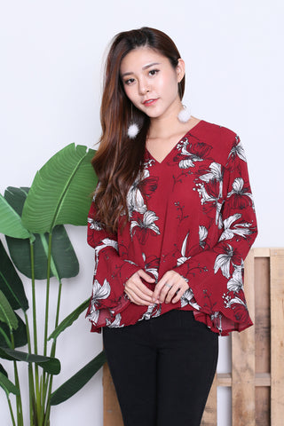 ZOFIA FLORAL BELL SLEEVES TOP IN BURGUNDY