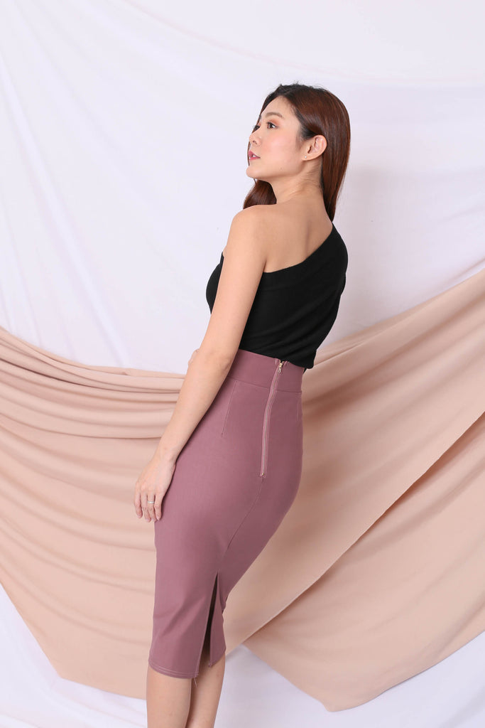 *BACKORDER* CLASSIC SLIT PENCIL SKIRT IN MAUVE