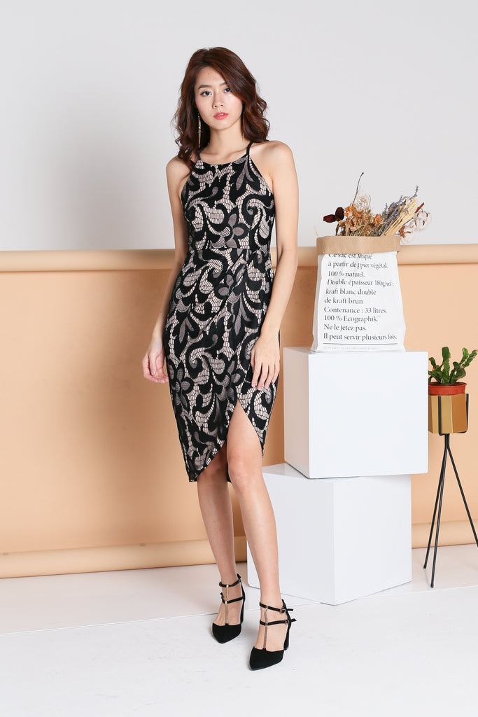 *TOPAZ* (PREMIUM) DESTINY TULIP LACE DRESS IN BLACK - TOPAZETTE