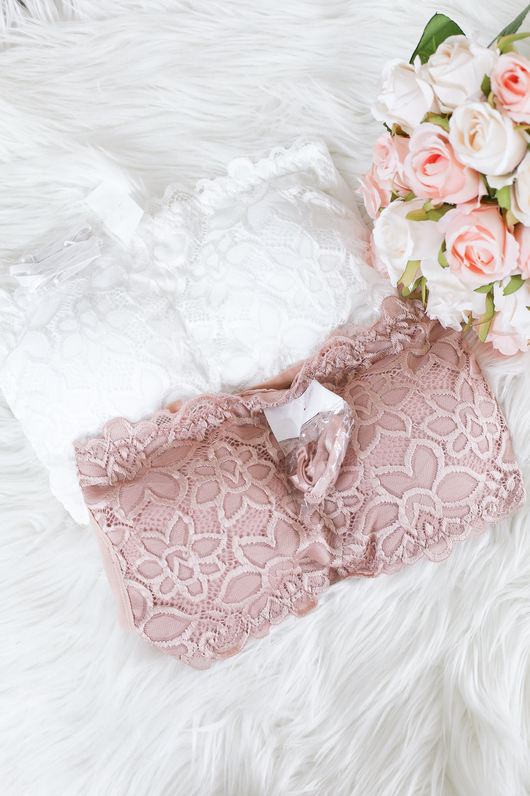 GRECIA LACE TUBE CAGED BRA IN ROSE