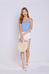BUTTON KNIT TOP IN CORNFLOWER BLUE