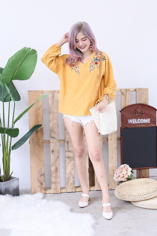 SUEDE OVERSIZED EMBROIDERY TOP IN BRIGHT MUSTARD