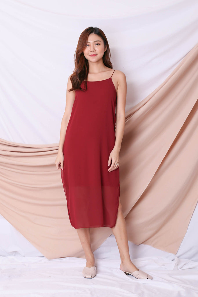 EVA LAYERED DRESS IN WINE