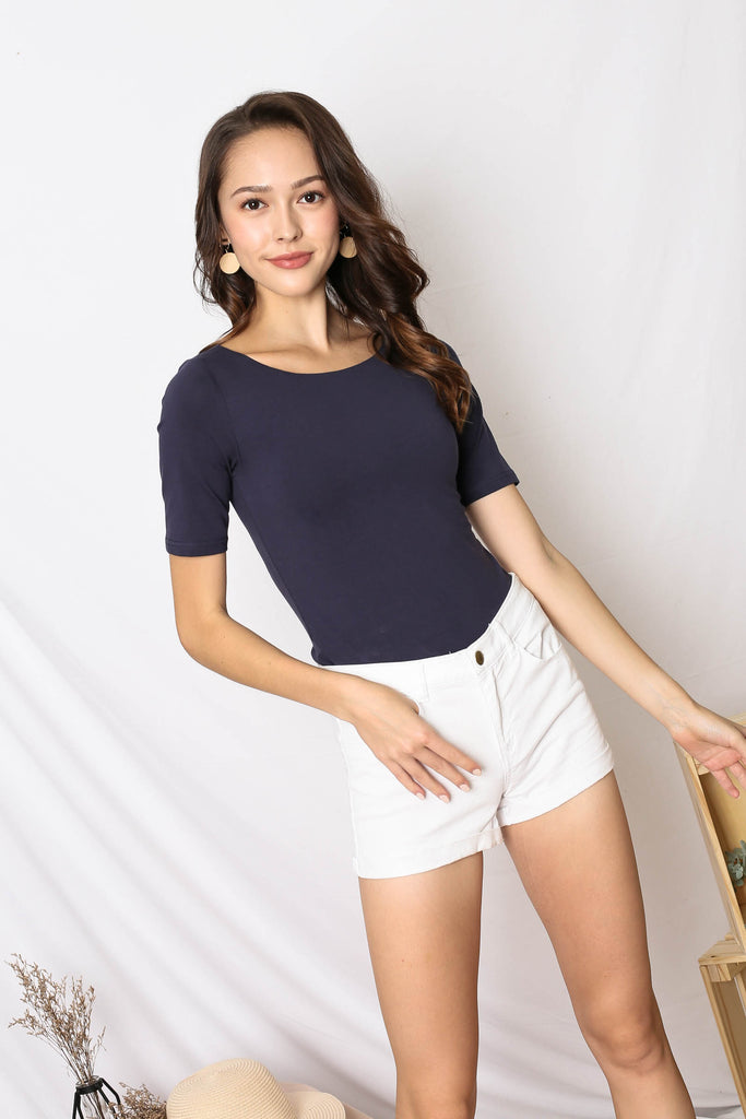 *TPZ* (PREMIUM) NERVANA SLEEVED BASIC TOP IN NAVY