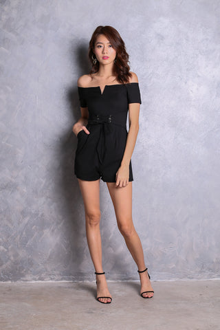 f02f16aa08  TOPAZ  (PREMIUM) NIKITA OFF SHOULDER ROMPER IN BLACK