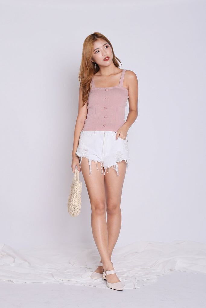 BUTTON KNIT TOP IN DUSTY PINK - TOPAZETTE