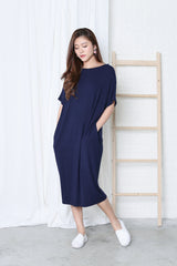 *RESTOCKED* OVERSIZED LOUNGE POCKET DRESS IN NAVY