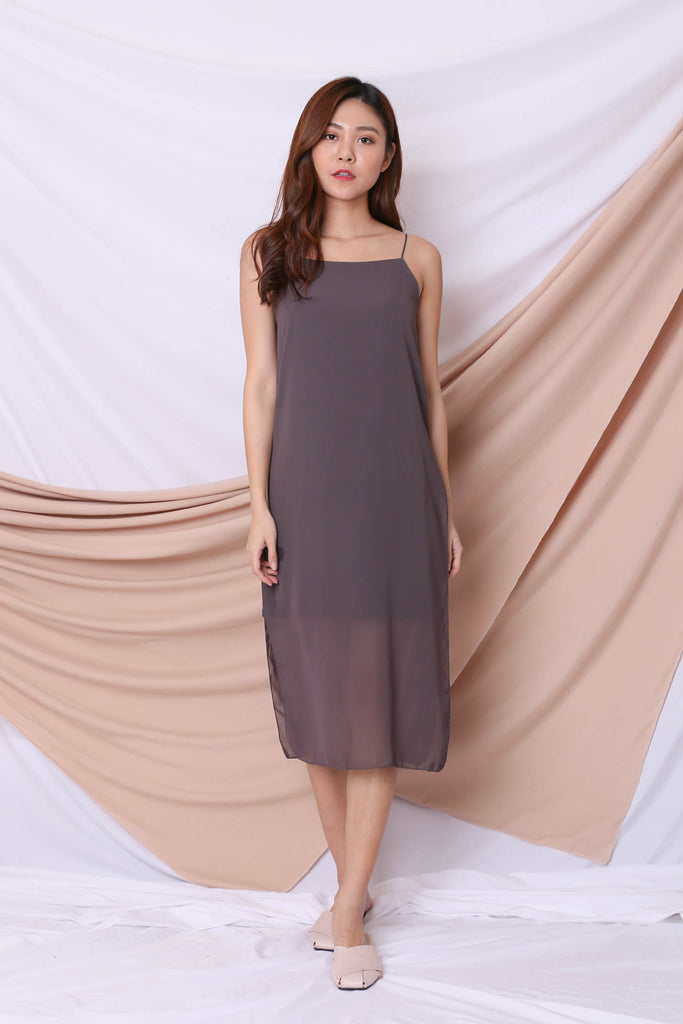 EVA LAYERED DRESS IN METAL GREY