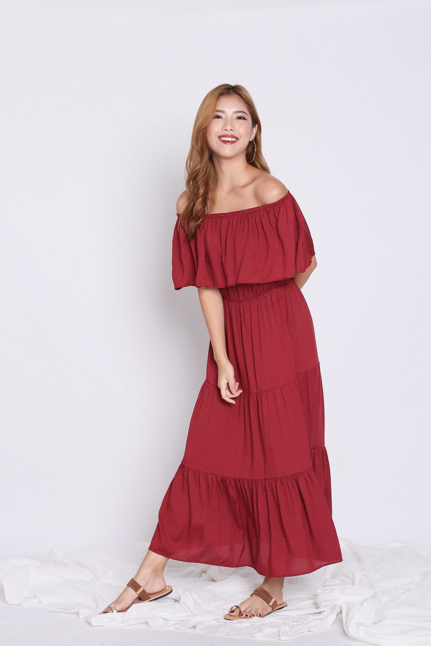 BESS OFF SHOULDER MAXI IN BURGUNDY