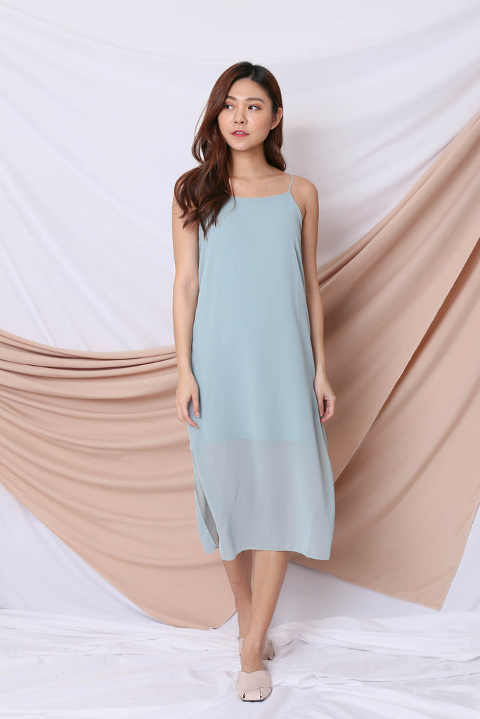 EVA LAYERED DRESS IN DUSTY CYAN