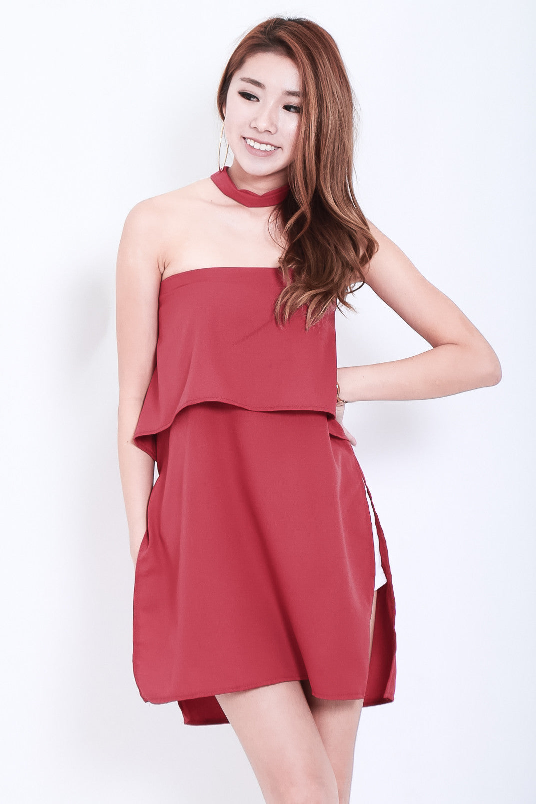 OPEN SLIT TOP WITH CHOKER IN WINE - TOPAZETTE