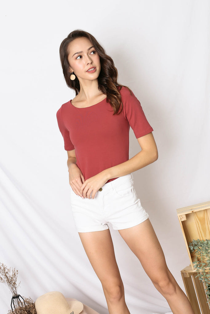 *TPZ* (PREMIUM) NERVANA SLEEVED BASIC TOP IN TEA ROSE