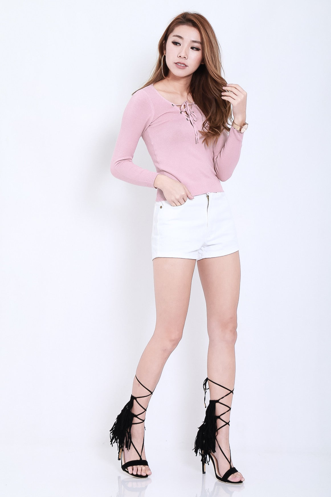 SOFT SNUG KNIT TOP IN BABY PINK