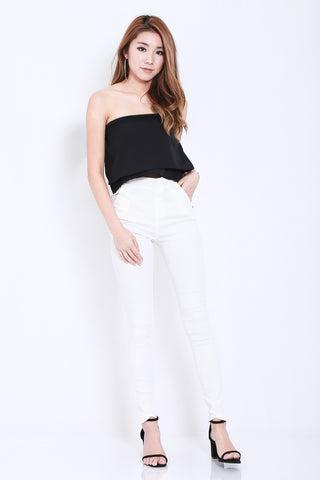 CLASSIC STRETCHY JEGGINGS IN WHITE - TOPAZETTE
