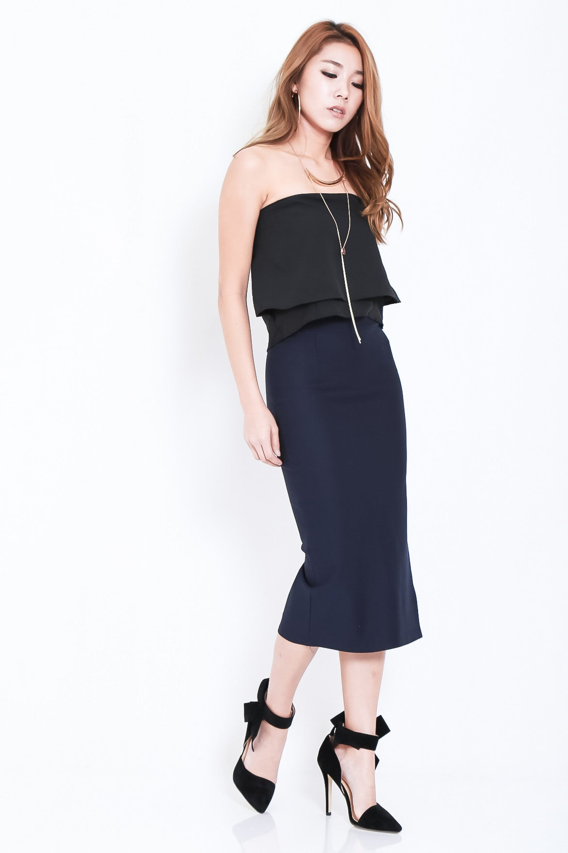 *RESTOCKED* TIMELESS SLIT MIDI IN NAVY - TOPAZETTE