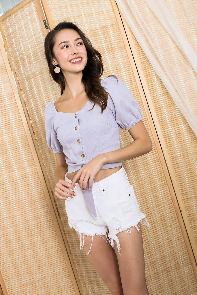 *TPZ* (PREMIUM) FIONA SWEETHEART LINEN TOP IN LILAC GREY