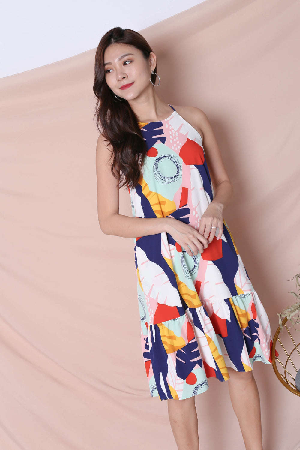 (PREMIUM) COLOUR PLAY ABSTRACT HALTER TRAPEZE DRESS