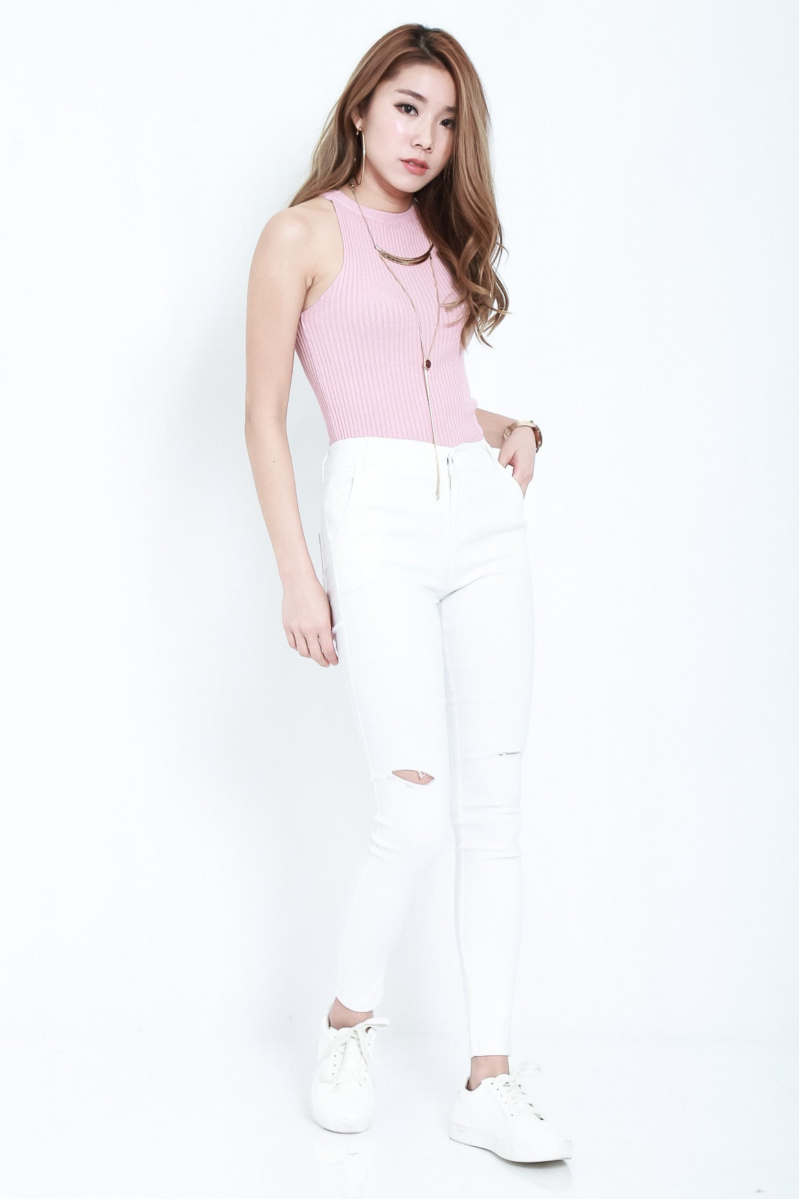 *RESTOCKED* STAY CLOSE SLIT JEGGINGS IN WHITE