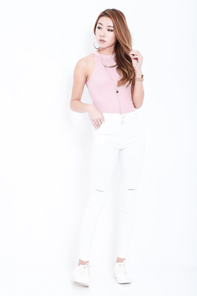 *RESTOCKED* STAY CLOSE SLIT JEGGINGS IN WHITE - TOPAZETTE