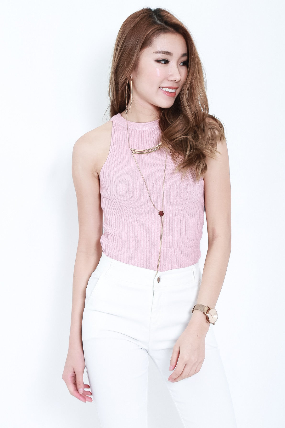 RIBBED REVERSIBLE LACE TOP IN BABY PINK