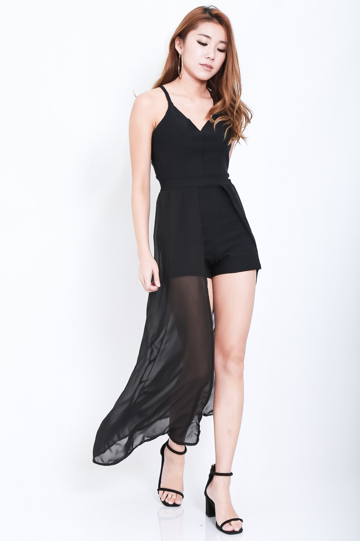ALL OR NOTHING MAXI ROMPER IN BLACK - TOPAZETTE